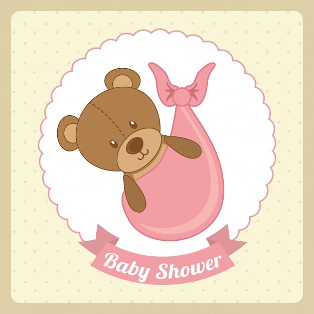 Babypartyentwurf über rosa hintergrundvektorillustration Premium Vektoren