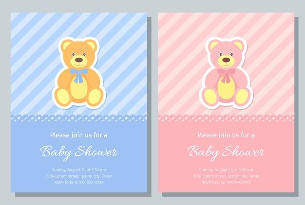 Babypartykarte. . baby, mädchen einladen. hintergrund der geburtsfeier. nettes blaues, rosa design. willkommensvorlage einladungsbanner. glückliches grußfeiertagsplakat mit teddybär. flache illustration. Premium Vektoren
