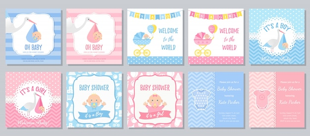 Babypartykarte. baby mädchen einladung. karikaturillustration Premium Vektoren