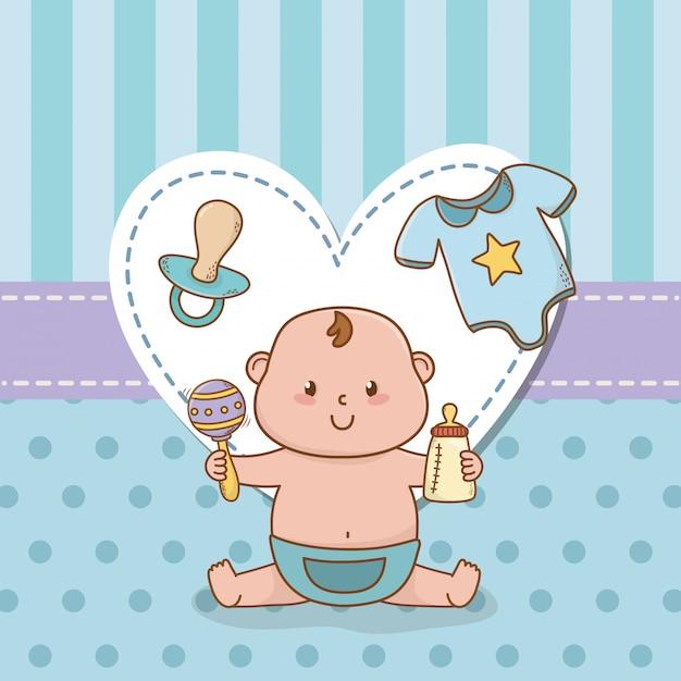 Babypartykarte mit baby des kleinen jungen Premium Vektoren