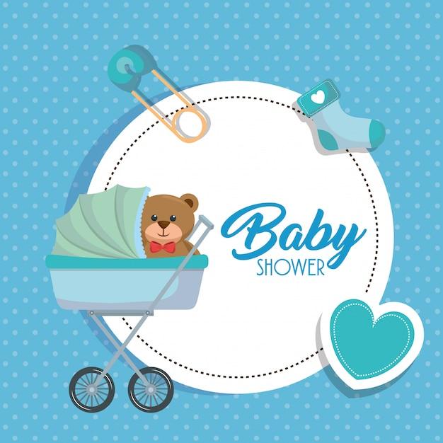 Babypartykarte mit bärenteddy im warenkorb Kostenlosen Vektoren