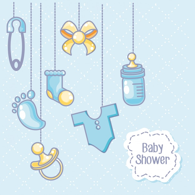 Babypartykarte mit gegenständen für das kinderhängen Premium Vektoren