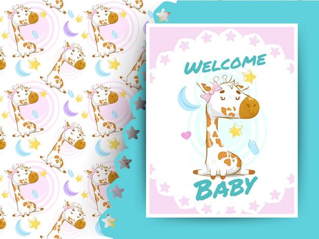 Babypartykarte mit giraffe und muster Premium Vektoren