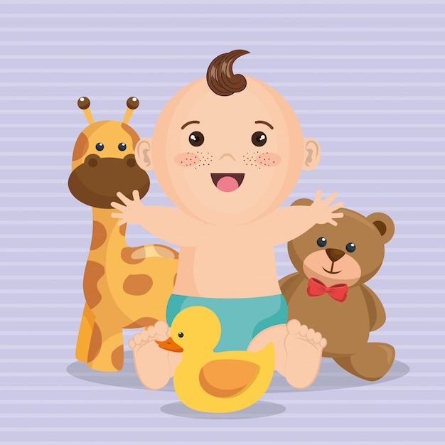 Babypartykarte mit kleinem jungen Kostenlosen Vektoren