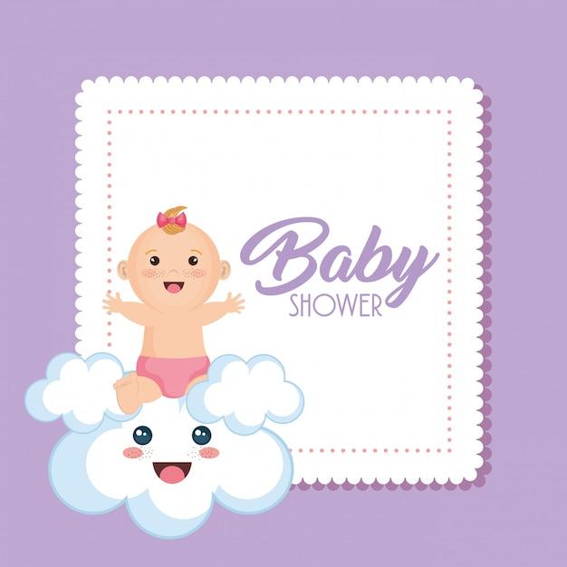Babypartykarte mit kleinem mädchen Kostenlosen Vektoren