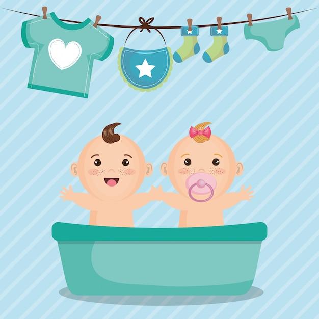Babypartykarte mit kleinen kindern Kostenlosen Vektoren