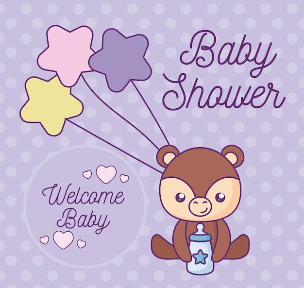 Babypartykarte mit niedlichem bärntier Premium Vektoren