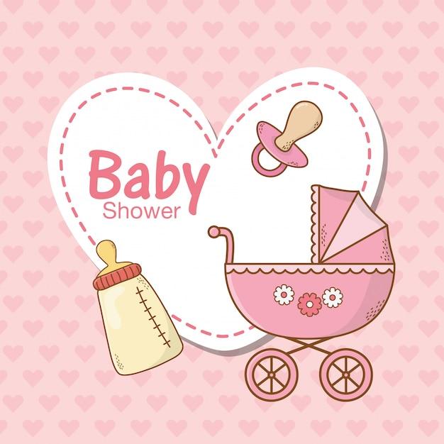 Babypartykarte mit rosa warenkorb Premium Vektoren