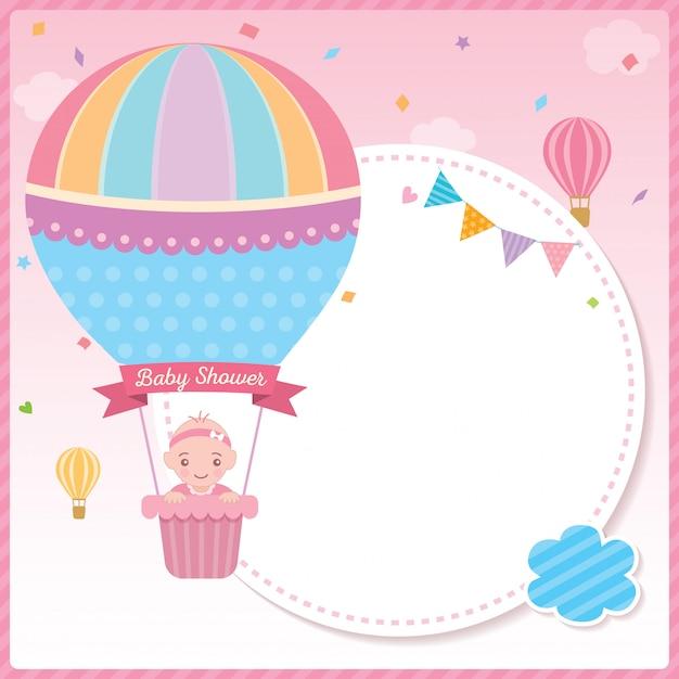 Babypartymädchen mit ballonschablone Premium Vektoren