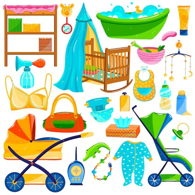 Babypflegeobjekte, neugeborenenartikelbedarf, satz ikonen auf weiß, illustration Premium Vektoren