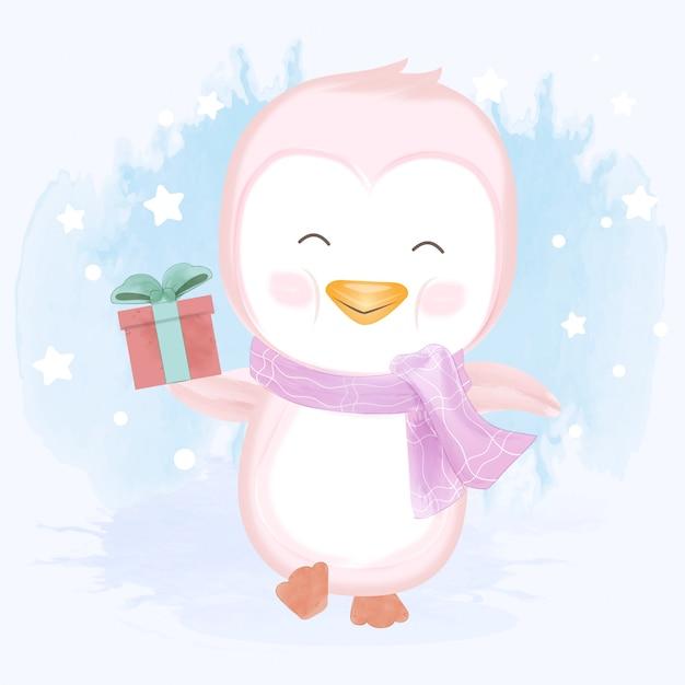Babypinguin, der gezeichnete illustration der geschenkbox hand hält Premium Vektoren