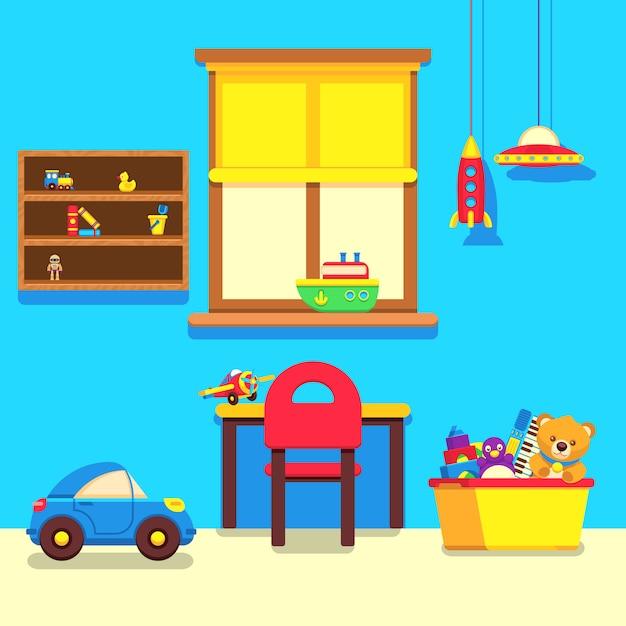 Babyrauminnenraum mit fenster, arbeitsplatz und spielwarenansammlung Premium Vektoren