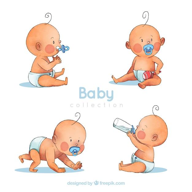 Babysammlung im aquarell-stil Kostenlosen Vektoren