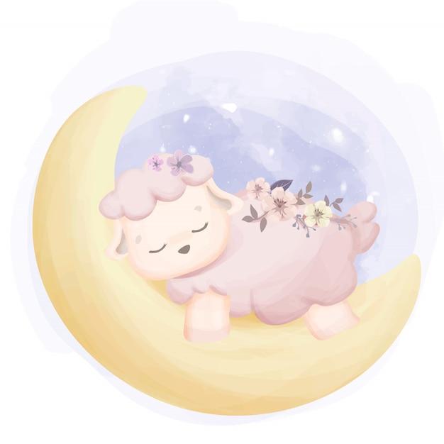 Babyschafe schlafen auf mond Premium Vektoren