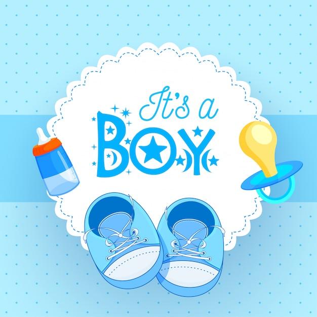 Babyschuhe mit friedensstifter und babyflasche auf blauem hintergrund für Premium Vektoren