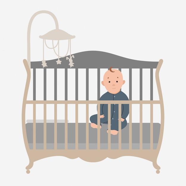 Babysitting ist in der krippe Premium Vektoren
