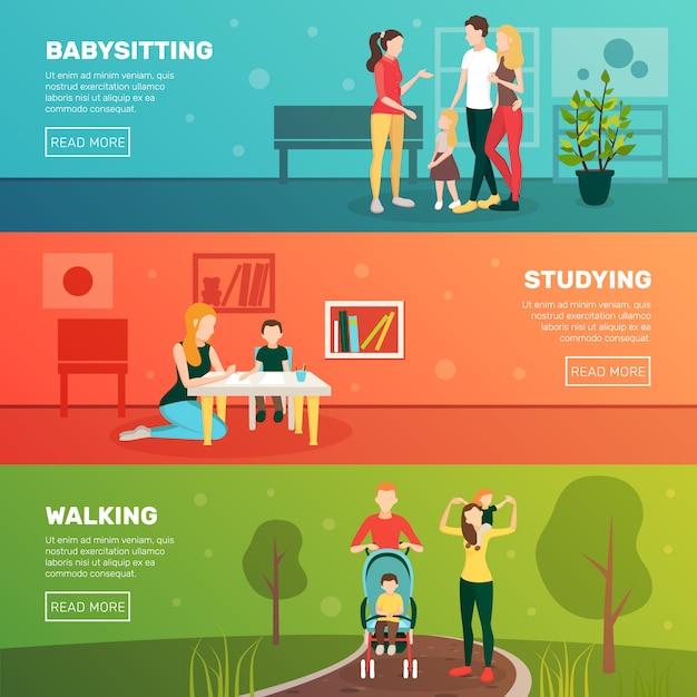 Babysitting kinder banner set Kostenlosen Vektoren