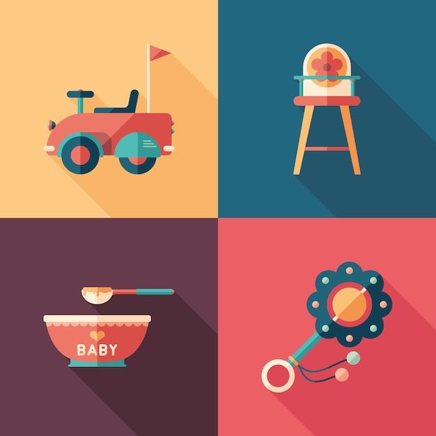 Babyspielwaren stellten von den isometrischen quadratischen ikonen mit langen schatten ein. Premium Vektoren