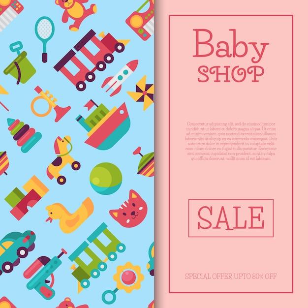 Babyspielzeugshopfahne in der flachen karikaturart. der markt für kinderspiele umfasst teddybär, pyramide und puppe Premium Vektoren
