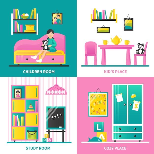 Babyzimmermöbel 2x2 Kostenlosen Vektoren