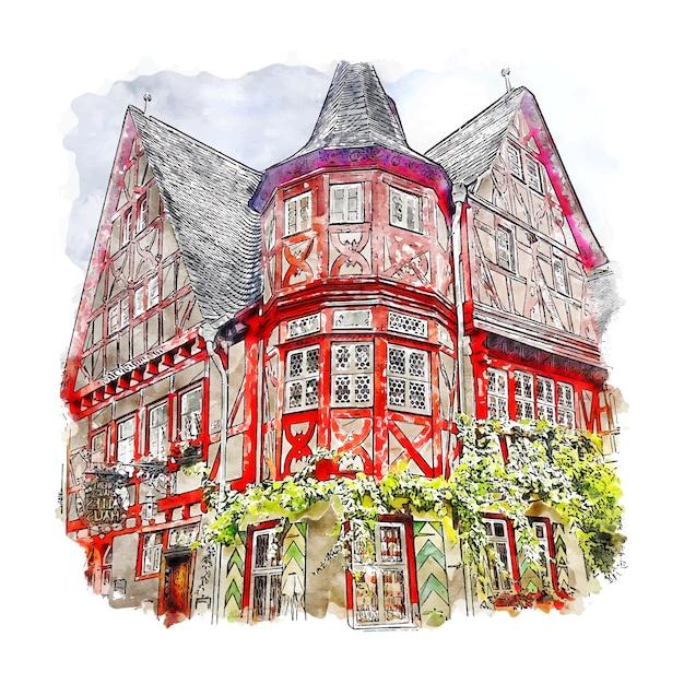 Bacharach deutschland aquarell skizze hand gezeichnete illustration Premium Vektoren