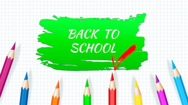 Back to school - arbeitsblatt für schulhefte mit buntstiften. vektor Premium Vektoren