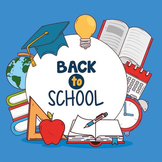 Back to school banner, mit set liefert bildung Premium Vektoren