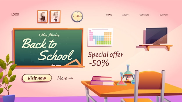Back to school banner mit sonderangebot. Kostenlosen Vektoren