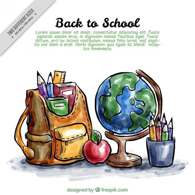 Back to school Hintergrund mit Aquarell-Papier Kostenlose Vektoren