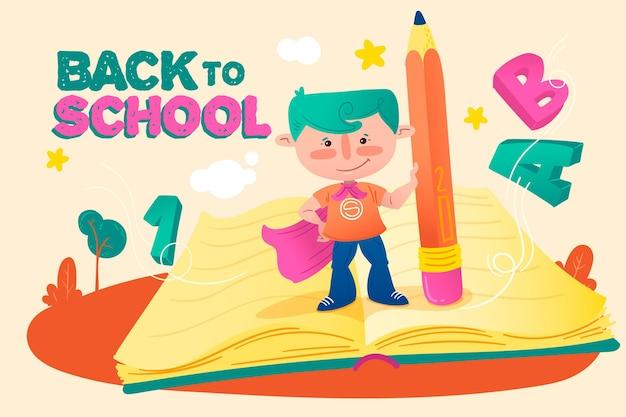 Back to school hintergrundzeichnung Kostenlosen Vektoren