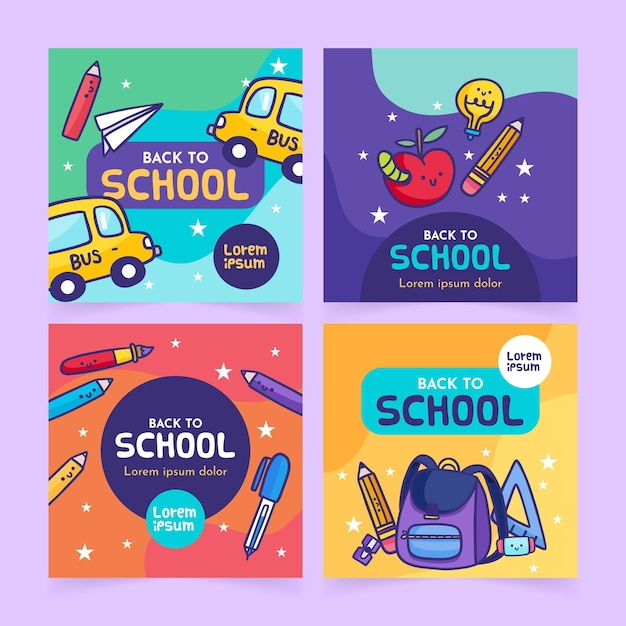 Back to school instagram beiträge konzept Kostenlosen Vektoren