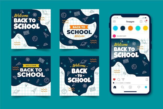 Back to school instagram beiträge sammlung Kostenlosen Vektoren