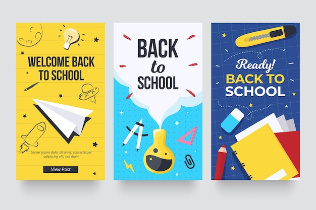 Back to school instagram geschichten Premium Vektoren