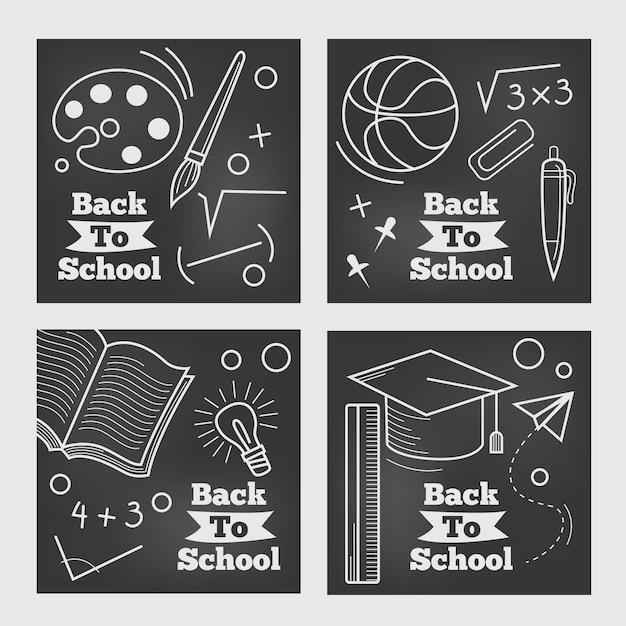 Back to school instagram post tafel design Kostenlosen Vektoren