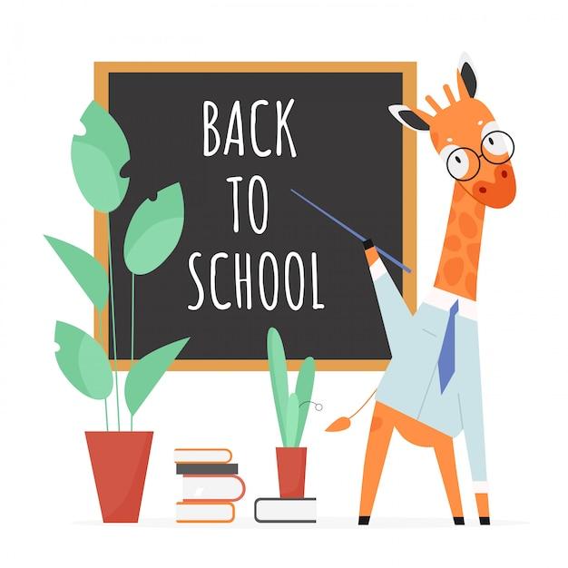 Back to school konzept illustration. karikaturgiraffenlehrercharakter mit zeiger und gläsern, die an der schultafel stehen und tierschüler lehren, bildungskonzept auf weiß Premium Vektoren