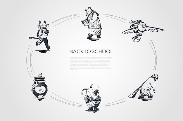 Back to school konzept set illustration Premium Vektoren