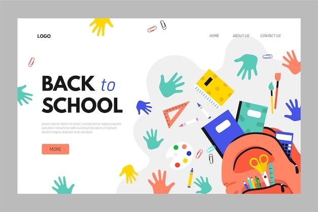 Back to school landing page vorlage Kostenlosen Vektoren