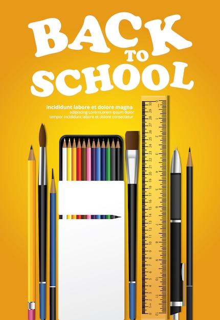 Back to school poster vorlage Kostenlosen Vektoren