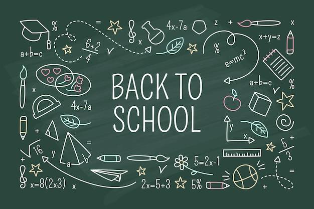 Back to school tafel hintergrund Premium Vektoren