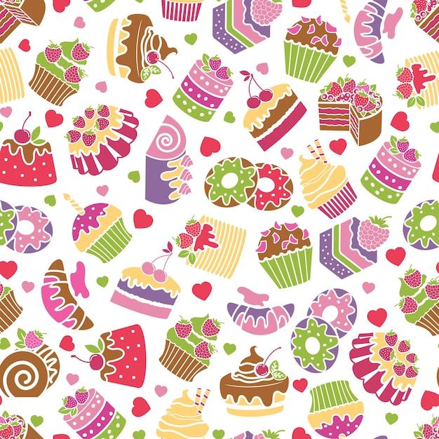 Backen und desserts nahtloser musterhintergrund. essen und sahne, süßes design, geburtstagsdekoration, vektorillustration Kostenlosen Vektoren