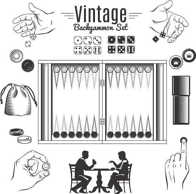 Backgammon vintage style elements set Kostenlosen Vektoren