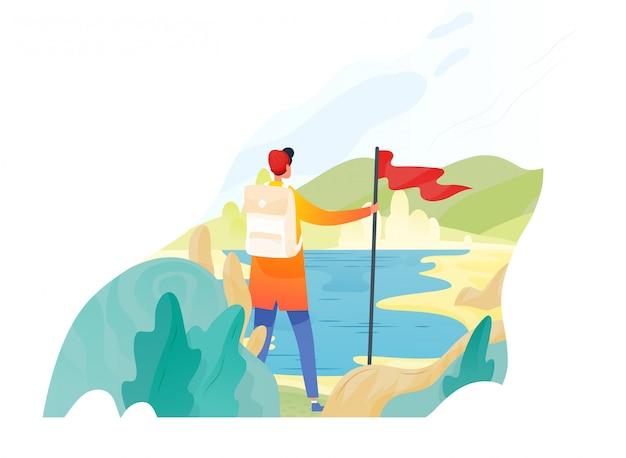 Backpacker, wanderer, reisender oder entdecker stehend, rote fahne haltend und natur betrachtend. wandern, rucksackwandern, abenteuertourismus und reisen, entdeckung neuer horizonte. flache illustration. Premium Vektoren