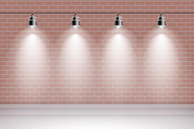 Backsteinmauer mit scheinwerferhintergrund Kostenlosen Vektoren