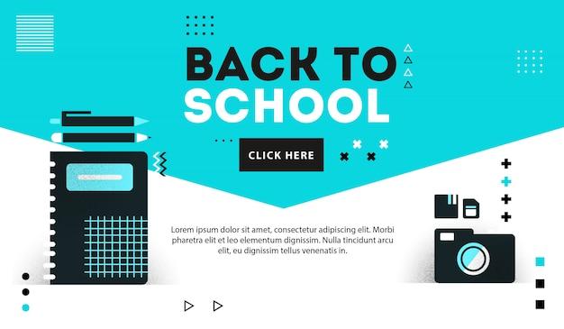 Backto school suplies banner Premium Vektoren