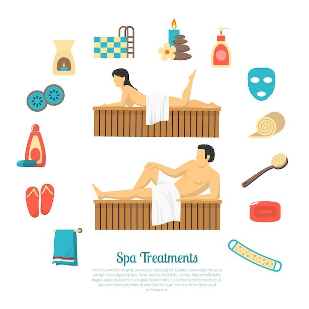 Bad sauna illustration elemente und charaktere, mann und frau Kostenlosen Vektoren