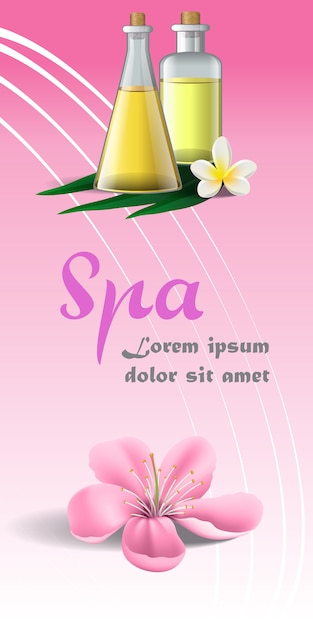 Badekurortbroschüre mit rosa blüte, weißer tropischer blume und massageöl Kostenlosen Vektoren