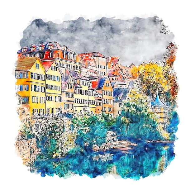 Baden württemberg deutschland aquarell skizze hand gezeichnete illustration Premium Vektoren