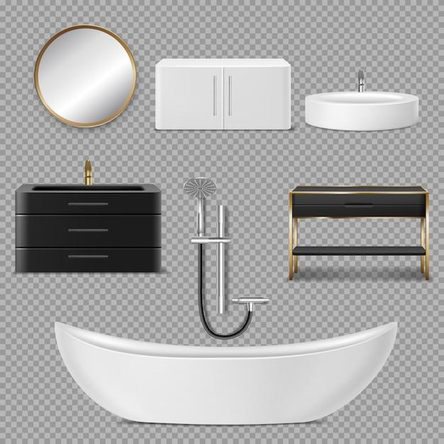 Badewanne, dusche, spiegel und waschbecken symbole für badezimmer Kostenlosen Vektoren