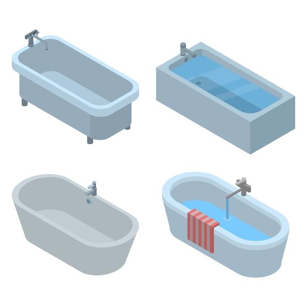Badewanne-icon-set. isometrischer satz badewannenvektorikonen für das webdesign lokalisiert auf weißem hintergrund Premium Vektoren