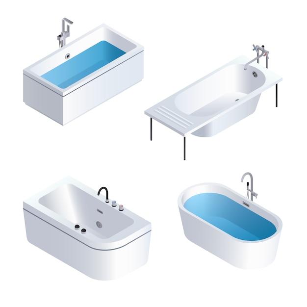 Badewanne-icon-set. isometrischer satz badewannenvektorikonen Premium Vektoren